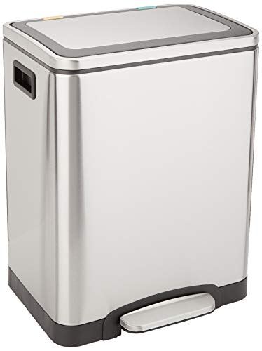 Amazon Basics Rectangle Soft-Close Trash Can with Double Inner Buckets, Plateado, 215L