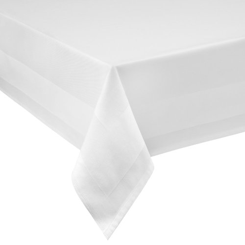Mantel rectangular de damasco, 100 x 140 cm, 100 x 140 cm, borde satinado, 100% algodón, color blanco