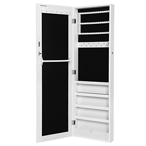 Songmics Armario y Espejo 2 en 1 Joyero de pared 36 x 120 x 9,5 cm Color blanco JBC24W