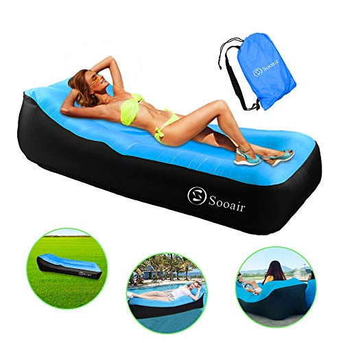 Sooair Sofá Hinchable, Sofá Reclinable Inflable con Almohada integrada y Bolsa, Plegable y Portátil Sofa Inflable Impermeable, Aire sofá Inflable para Viajes, Piscina, Camping - Azul
